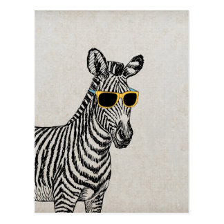 Cool cute funny zebra sketch with  trendy glasses postcard