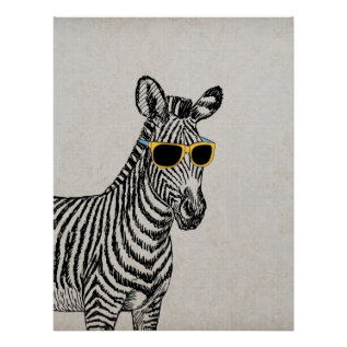 Cool Cute Funny Zebra Sketch With Trendy Glasses Poster at Zazzle