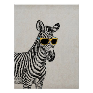 Cool cute funny zebra sketch with trendy glasses poster