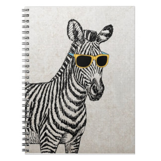 Cool cute funny zebra sketch with  trendy glasses spiral notebooks