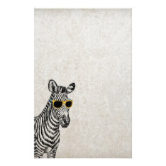 Cool Cute Funny Zebra Sketch With  Trendy Glasses Stationery at Zazzle