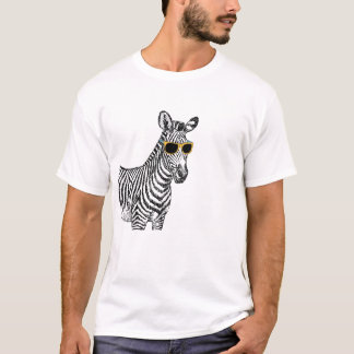 Cool cute funny zebra sketch with  trendy glasses T-Shirt