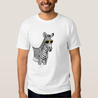 Cool cute funny zebra sketch with  trendy glasses tee shirt
