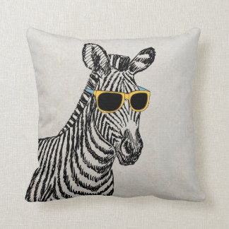 Cool cute funny zebra sketch with trendy glasses throw pillow