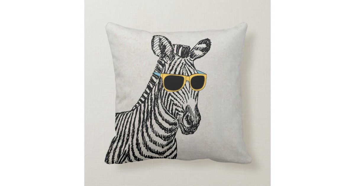 Cute Zebra Pillow : Cool cute funny zebra sketch with trendy glasses throw pillow Zazzle