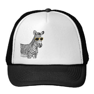 Cool cute funny zebra sketch with  trendy glasses trucker hat