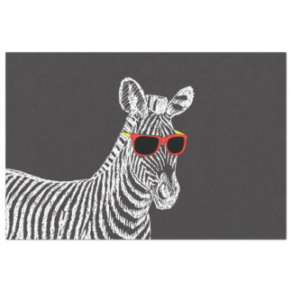 """Cool cute funny zebra white sketch with glasses 20"""" x 30"""" tissue paper"""