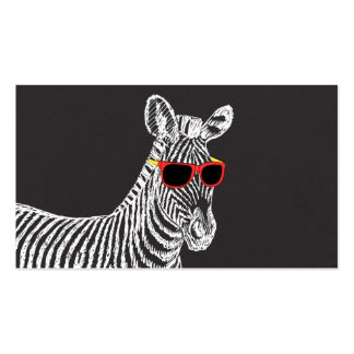 Cool cute funny zebra white sketch with glasses business card