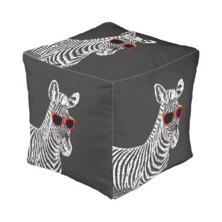 Cool cute funny zebra white sketch with glasses cube pouf