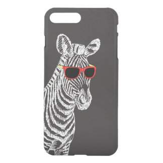 Cool cute funny zebra white sketch with glasses iPhone 7 plus case