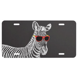 Cool cute funny zebra white sketch with glasses license plate
