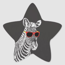 Cool cute funny zebra white sketch with glasses star sticker