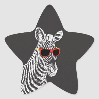Cool cute funny zebra white sketch with glasses star sticker