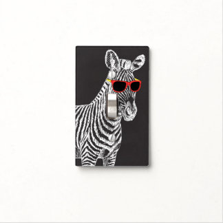 Cool cute funny zebra white sketch with glasses switch plate cover