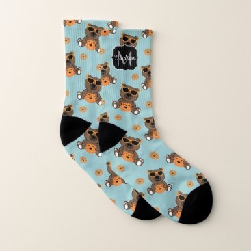 Halloween Themed Cool cute Halloween bear and pumpkin Monogram Socks