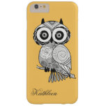Cool Cute Hipster Retro Groovy Owl Monogram Barely There iPhone 6 Plus Case