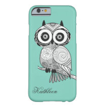 Cool Cute Hipster Vintage Groovy Owl Monogram Barely There iPhone 6 Case