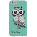 Cool Cute Hipster Vintage Groovy Owl Monogram Barely There iPhone 6 Plus Case