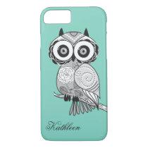 Cool Cute Hipster Vintage Groovy Owl Monogram iPhone 7 Case