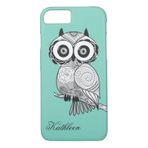Cool Cute Hipster Vintage Groovy Owl Monogram iPhone 8/7 Case