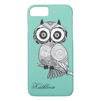 Cool Cute Hipster Vintage Groovy Owl Monogram iPhone 8/7 Case