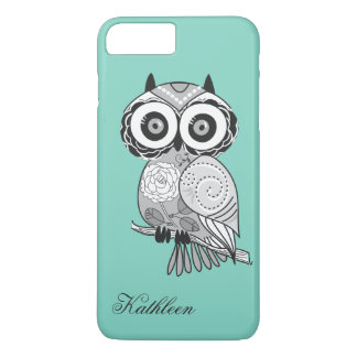 Cool Cute Hipster Vintage Groovy Owl Monogram iPhone 8 Plus/7 Plus Case