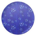 Cool cute japanese cat kitty neko indigo blue dinner plates