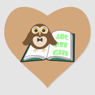 Cool Cute owl with Alphabet book Back to school Heart Sticker