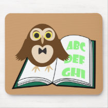 Cool Cute owl with Alphabet book Back to school Mouse Pad