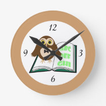 Cool Cute owl with Alphabet book Back to school Round Clock