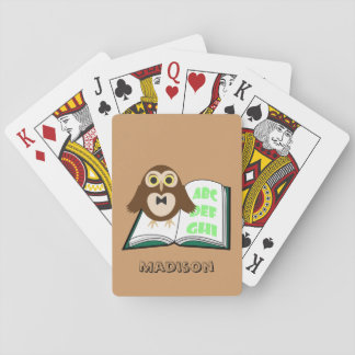 Cool Cute owl with Alphabet book playing cards