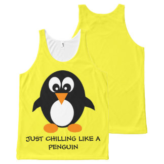 cool cute penguin yellow funny quote tank top All-Over print tank top