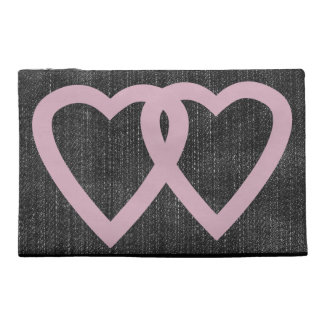 Cool Cute  Pink Hearts Black Denim Travel Accessories Bags