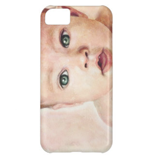 Cool cute sweet watercolour baby porrait paint cover for iPhone 5C