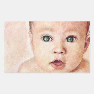 Cool cute sweet watercolour baby porrait paint rectangular sticker