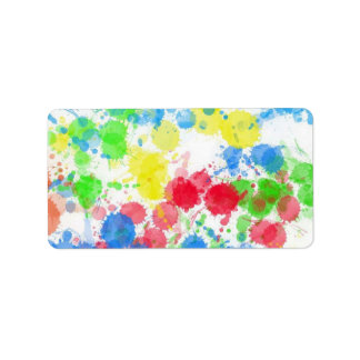 Cool cute  trendy colourful splatters watercolours address label