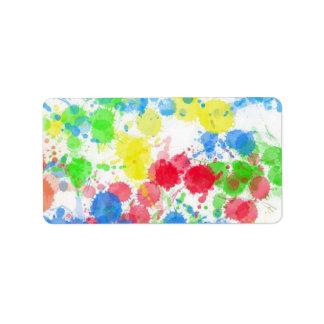 Cool cute trendy colourful splatters watercolours custom address labels