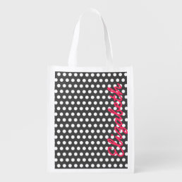 Cool cute trendy girly white polka dots pattern grocery bag