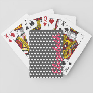 Cool cute trendy girly white polka dots pattern card deck
