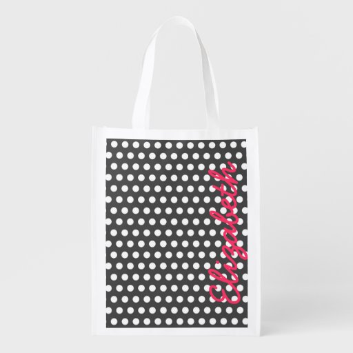 Cool cute trendy girly white polka dots pattern market totes