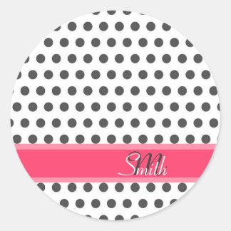 Cool cute trendy monogram grey large polka dots classic round sticker