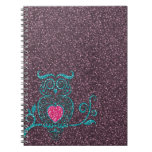 Cool cute trendy turquoise blue swirly owl spiral notebook