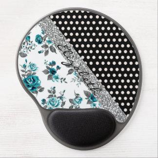 Cool cute trendy vintage roses floral polka dots gel mouse pad