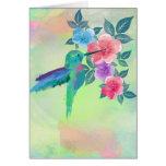 Cool cute trendy  watercolours hummingbird floral card