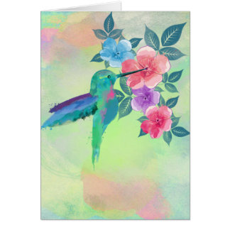 Cool cute trendy  watercolours hummingbird floral card
