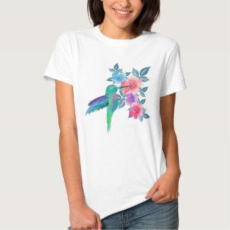 Cool cute trendy  watercolours hummingbird floral t shirt