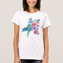 Cool cute trendy  watercolours hummingbird floral T-Shirt