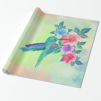 Cool cute trendy  watercolours hummingbird floral wrapping paper