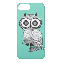 Cool Cute Unique Hipster Groovy Owl Teal iPhone 7 Case