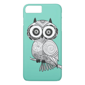 Cool Cute Unique Hipster Groovy Owl Teal iPhone 7 Plus Case
